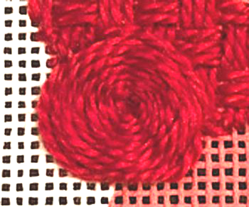spider web needlepoint stitch with hidden spokes