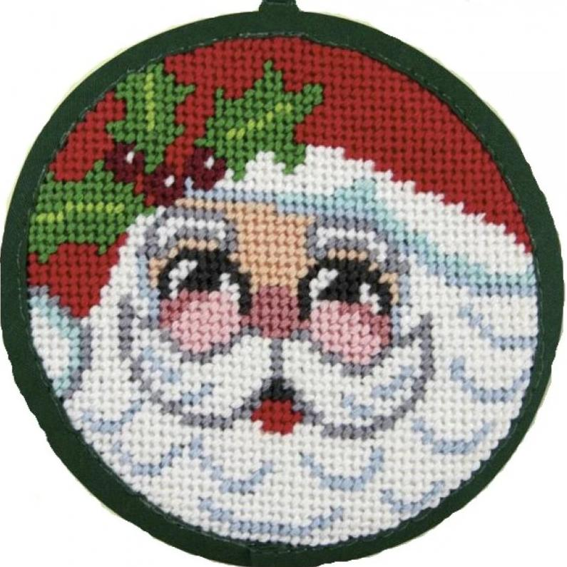 Needlepoint Christmas Ornament Kit Santa Face