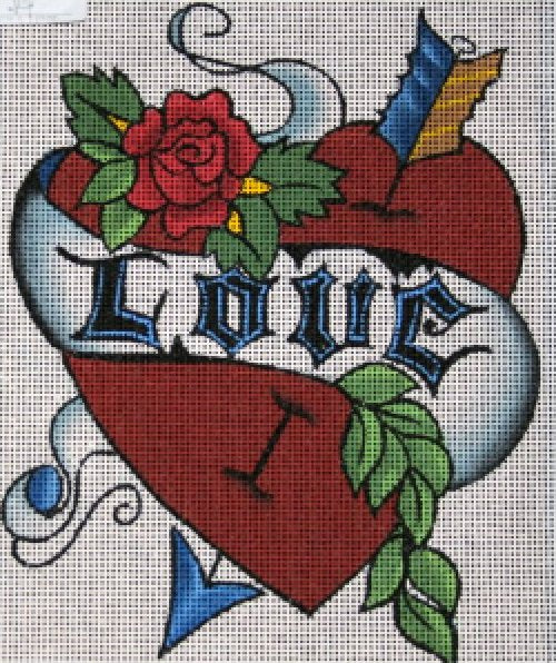 Tattoo Needlepoint Love - Canvas Only