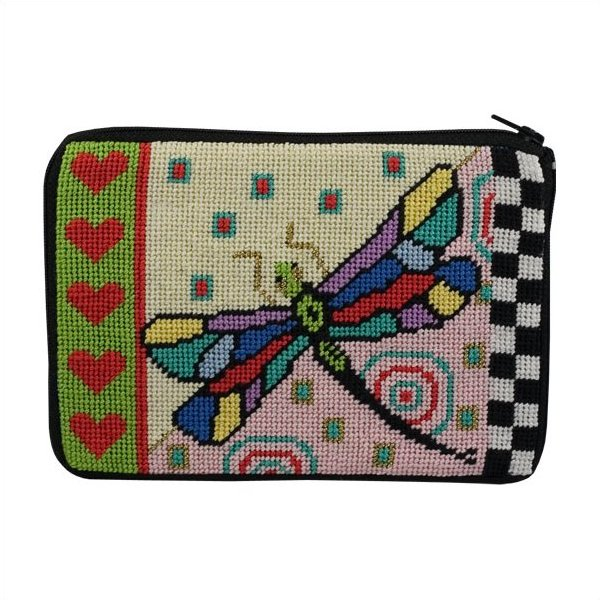Stitch & Zip Needlepoint Purse Dragonfly