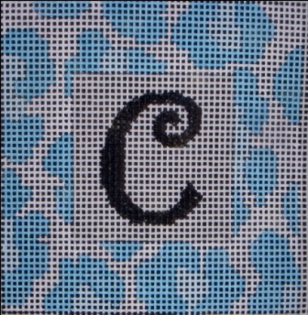 Beth Gantz Needlepoint Blue Leopard Alphabet - Canvas Only