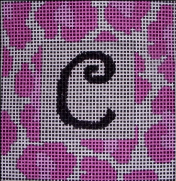 Beth Gantz Needlepoint Pink Leopard Alphabet - Canvas Only