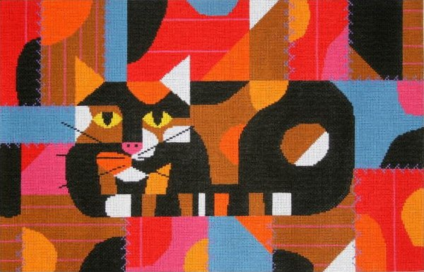Charley Harper Needlepoint Crazy Cat - Canvas Only- 18 mesh