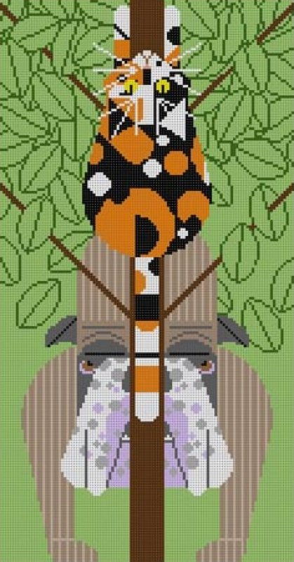 Charley Harper Needlepoint Treed  - Canvas Only