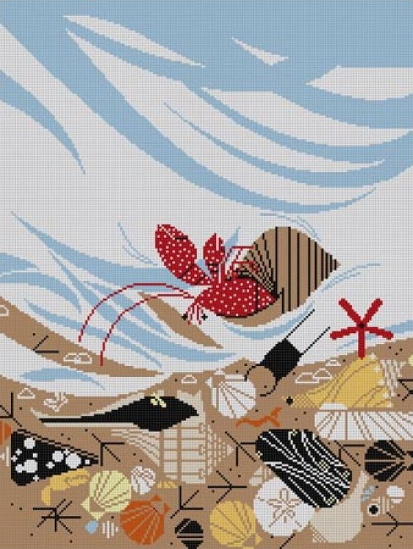 Charley Harper Needlepoint Crabitat - Canvas Only