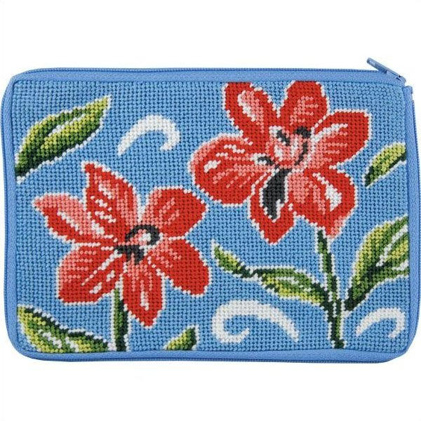 Stitch & Zip Needlepoint Purse Red Floral