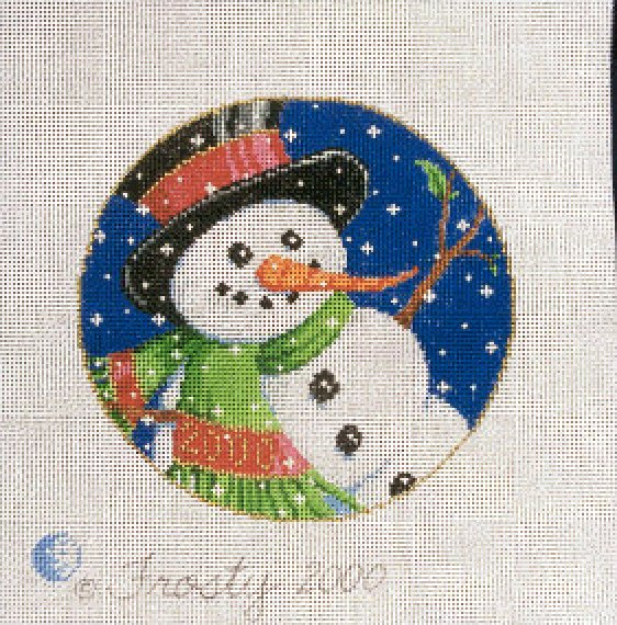 Needlepoint Christmas Ornament Frosty - Canvas Only