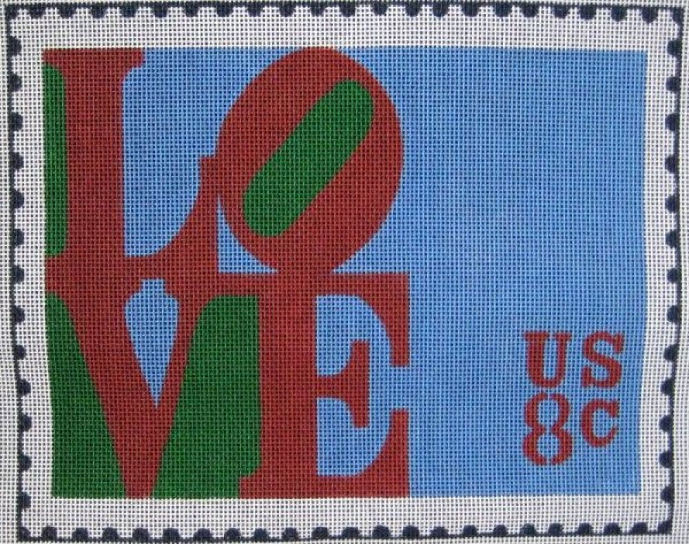 Handpainted Needlepoint<BR>Love Postage Stamp - Canvas Only