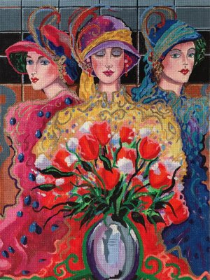 3 Ladies with Wildflowers needlepoint by Otto de Souza and Purple Palm