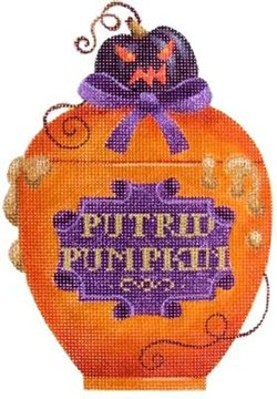Poison bottle Putrid Pumpkin Halloween needlepoint  - Canvas Only