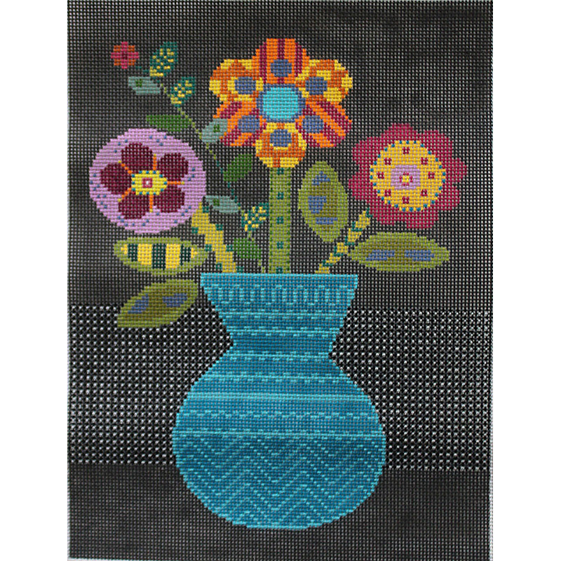 Blue Vase -Quilt Block #1 by Sue Spargo