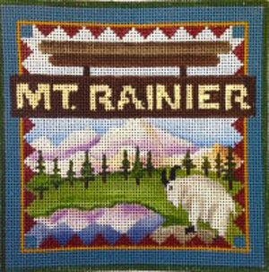 Mt Ranier national park needlepoint by Denise De Rusha  - Canvas Only