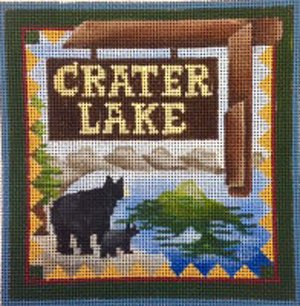 Crater Lake national park needlepoint by Denise De Rusha  - Canvas Only