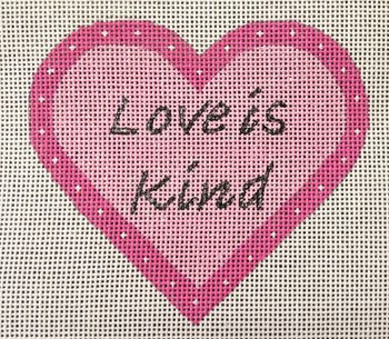 Needlepoint Heart Ornament - LOVE is Kind by Purple Palm