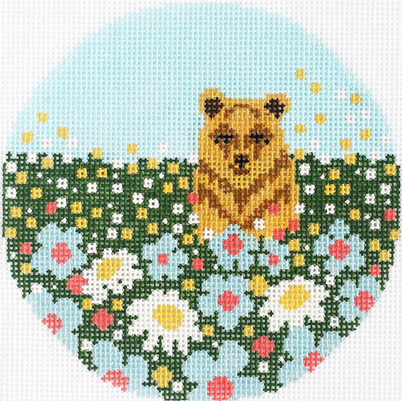 Daisy Bear Needlepoint Ornament