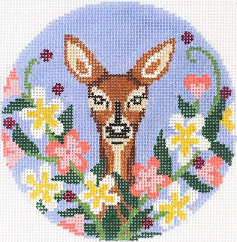 Wildflower Doe Needlepoint Ornament