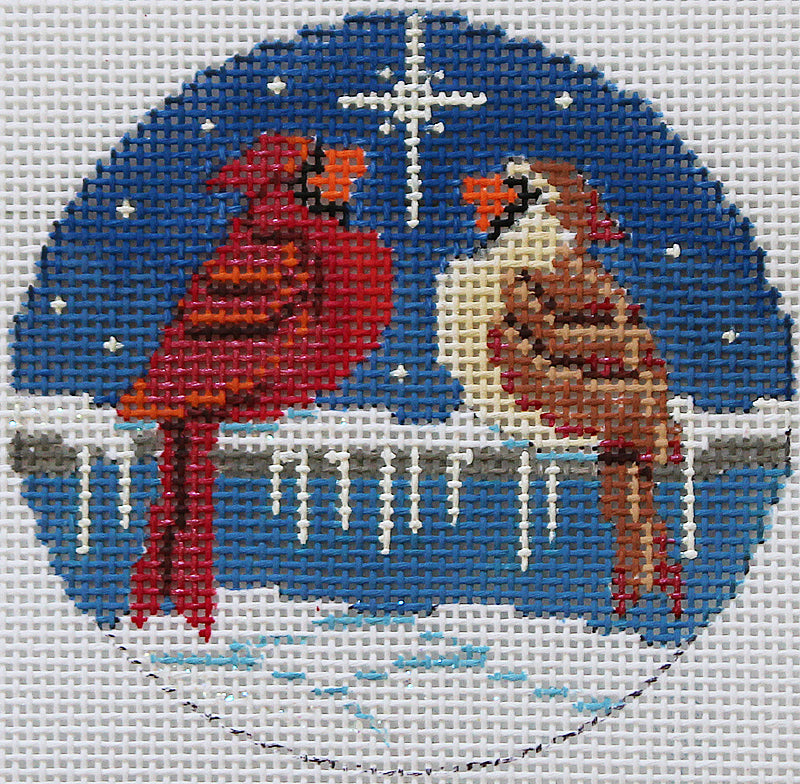 Needlepoint Christmas Ornament Cardinal love birds