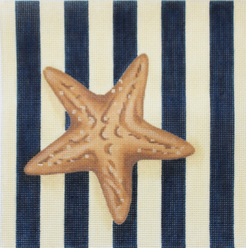 Starfish on Navy & Tan Stripes Needlepoint
