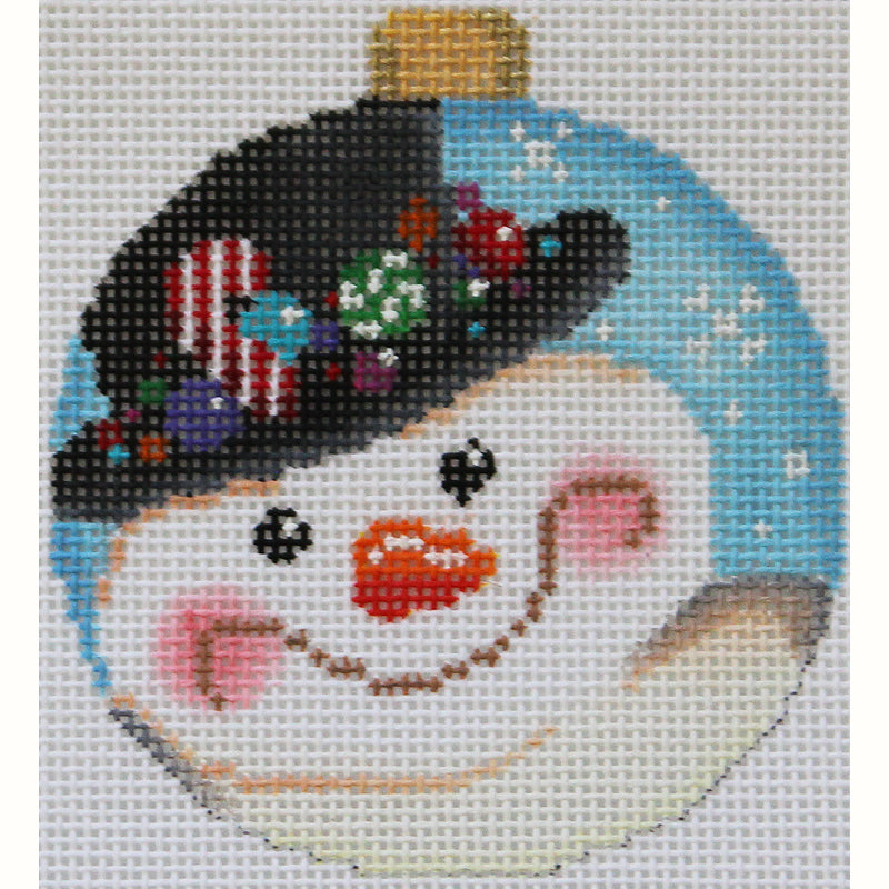 Snowman With Candy Top hat Needlepoint  Ornament