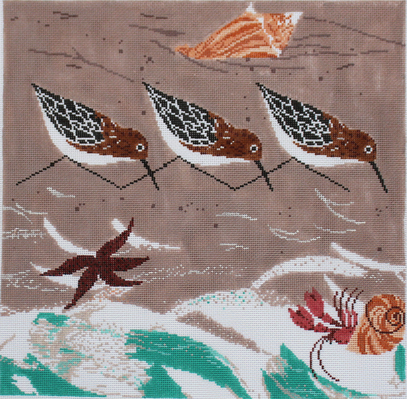 Charley Harper Needlepoint Beach Birds