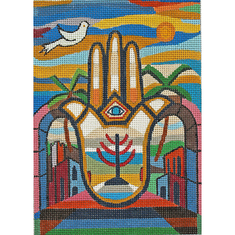 Hamsa Needlepoint Menorah Celebration