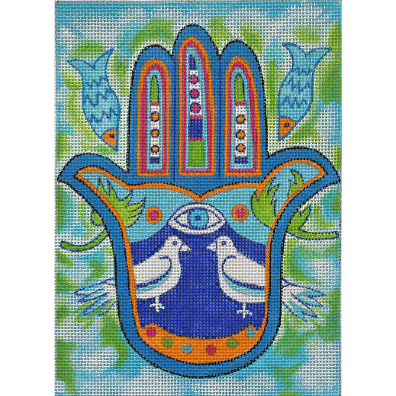 Hamsa Needlepoint Peace Doves