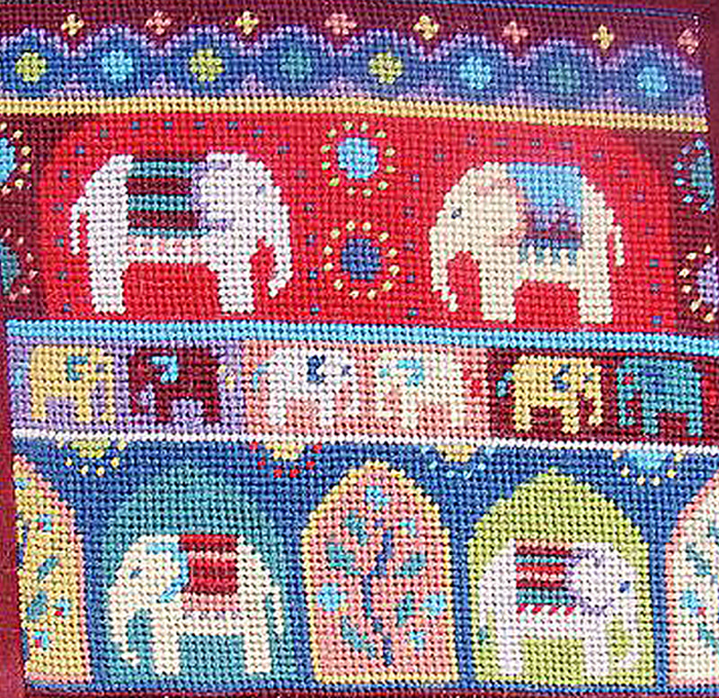 Indian Elephants Needlepoint Kit