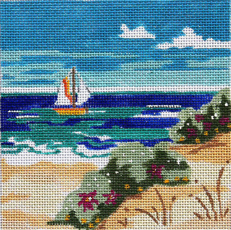 Sailboat at the Shore 5 x 5