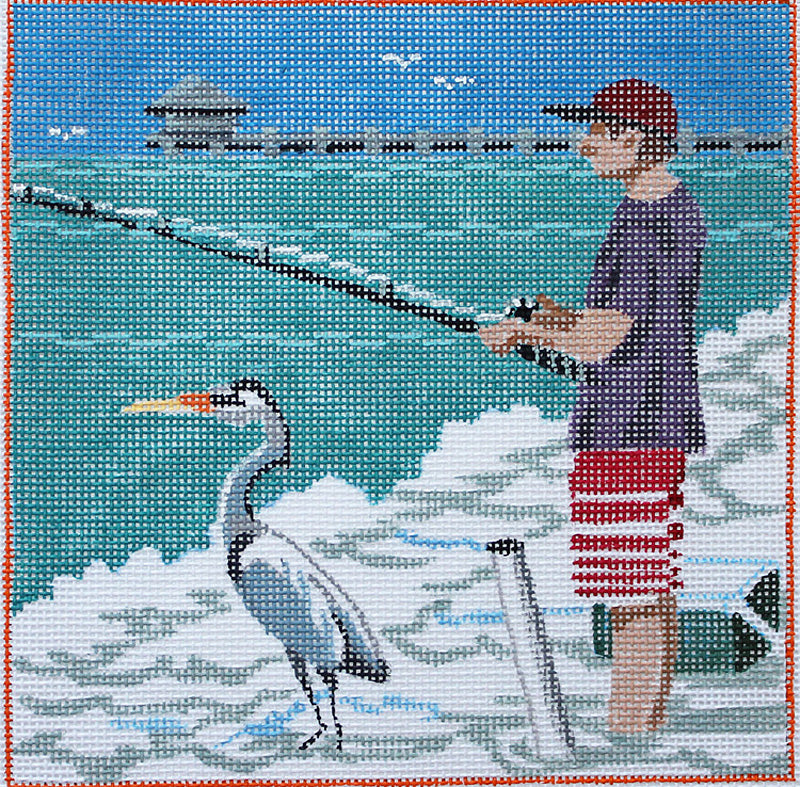 Beach Boys: Fishing Duo Needlepoint