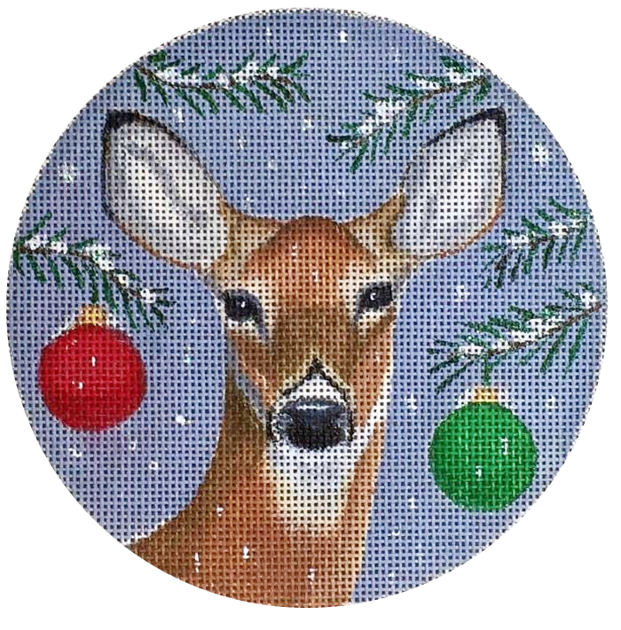 Needlepoint Christmas Ornament Whitetail