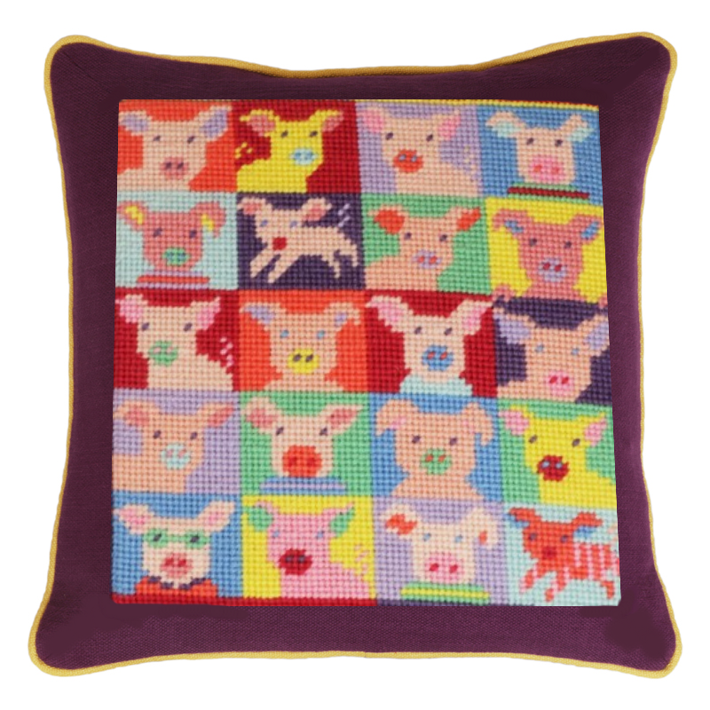 Pop Art Pigs needlepoint pillow kit by Jolly Red