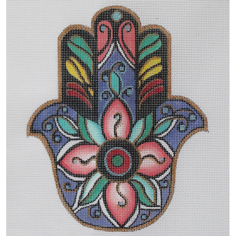Hamsa Needlepoint with pink flower