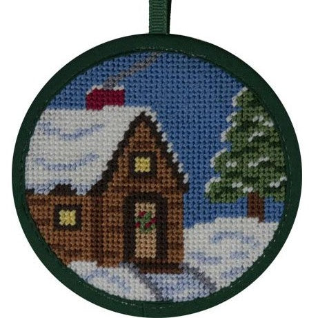 cabin in snow needlepoint christmas ornament by Stitch ups