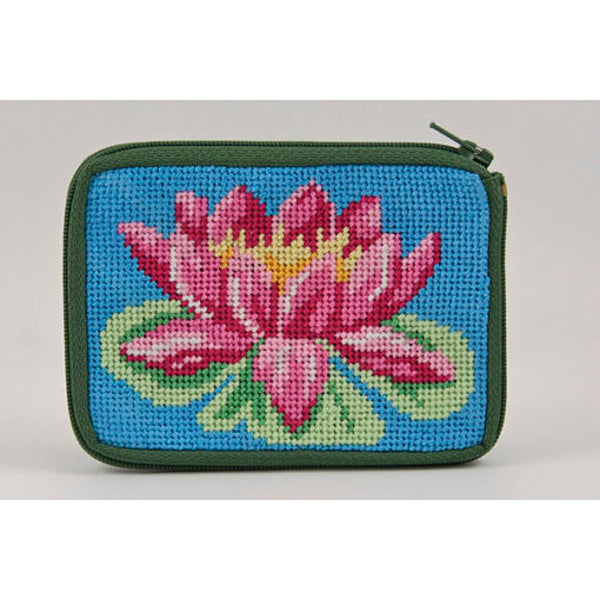 Stitch & Zip Needlepoint Coin Purse Waterlily