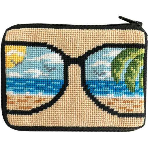 Stitch & Zip Needlepoint Coin Purse Life's a Beach