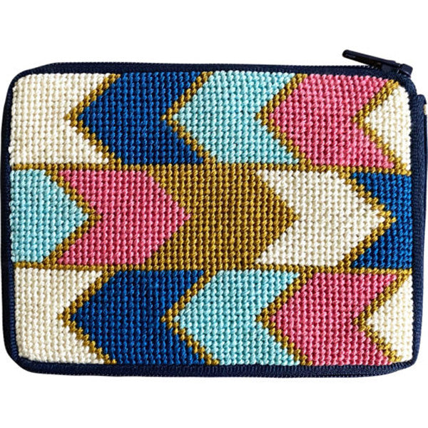 Stitch & Zip Needlepoint Coin Purse Geometric arrows