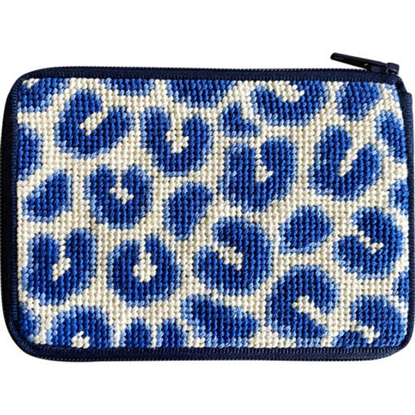 Stitch & Zip Needlepoint Coin Purse Blue Leopard
