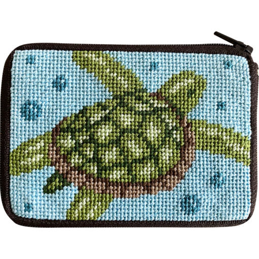 Stitch & Zip Needlepoint Coin Turtle