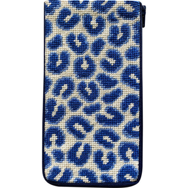 Stitch & Zip Eyeglass Blue Leopard