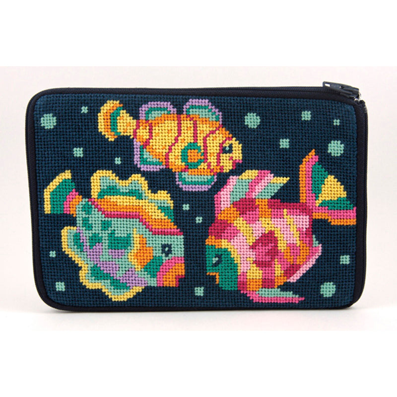 Stitch & Zip Needlepoint Cosmetic Purse Tropical Fish
