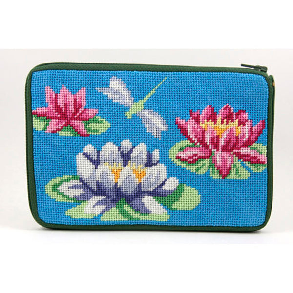 Stitch & Zip Needlepoint Purse Waterlilies