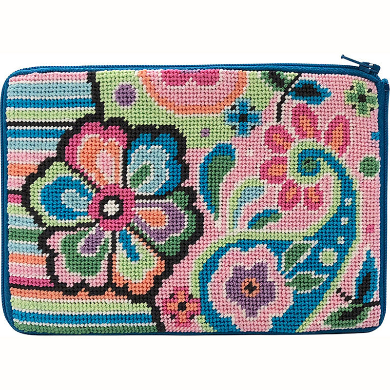 Stitch & Zip Needlepoint Cosmetic Purse Pastel floral paisley