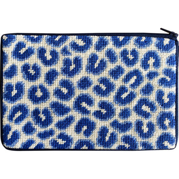 Stitch & Zip Needlepoint Purse Blue Leopard skin