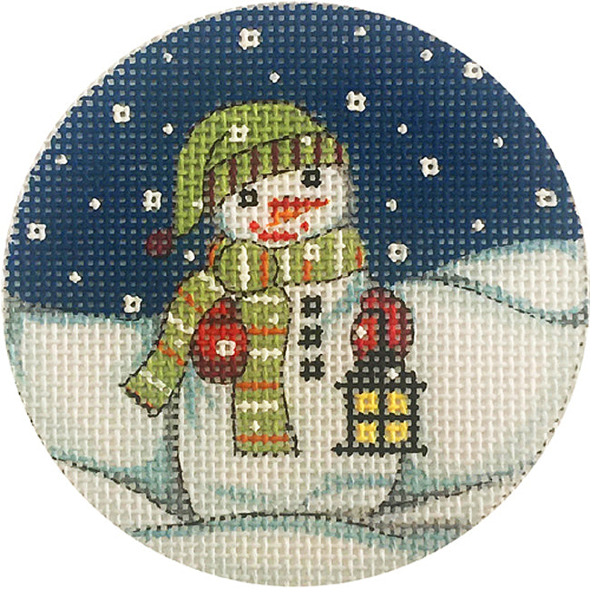 Snowman with Lantern needlepoint ornament