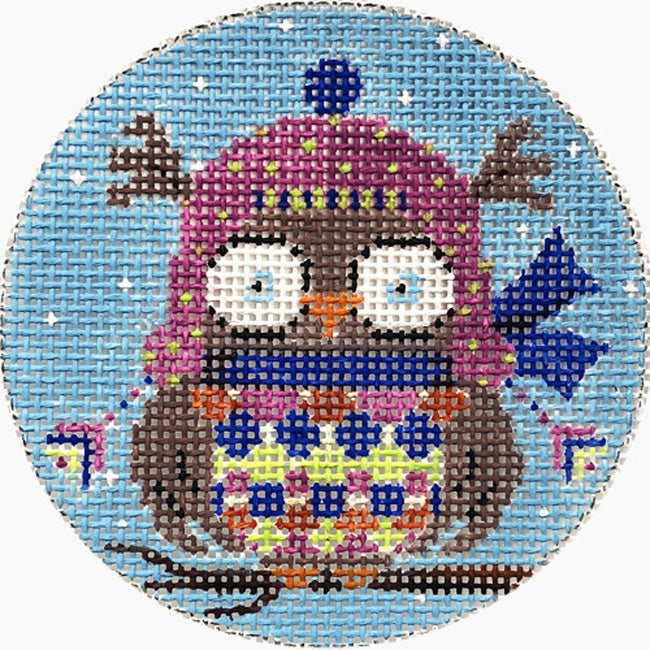 Owl in Pink Hat needlepoint ornament