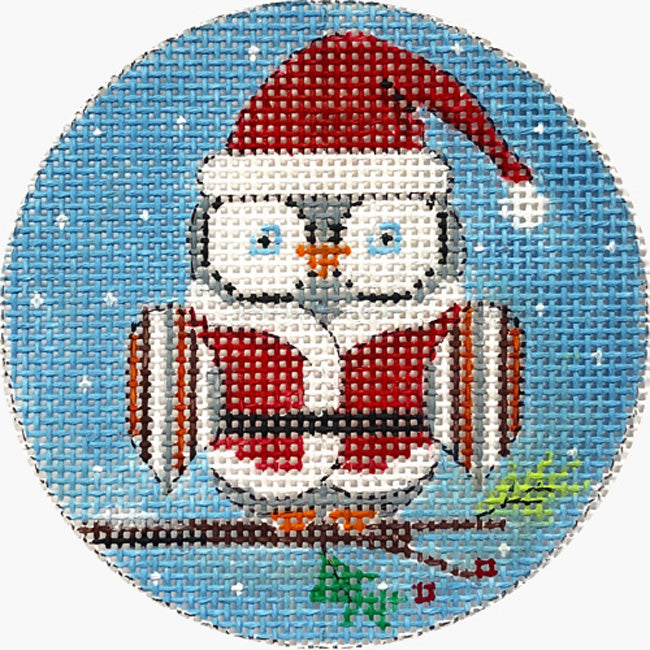 Santa Owl needlepoint ornament