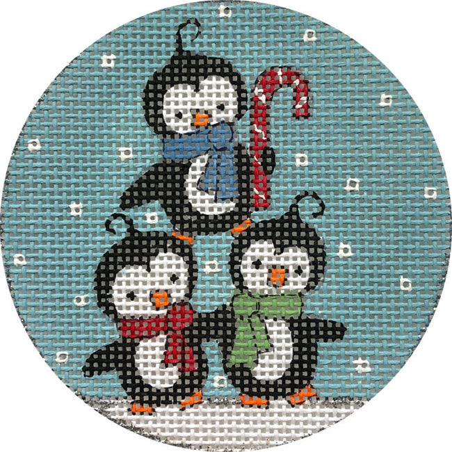 Penguins in snow needlepoint ornament