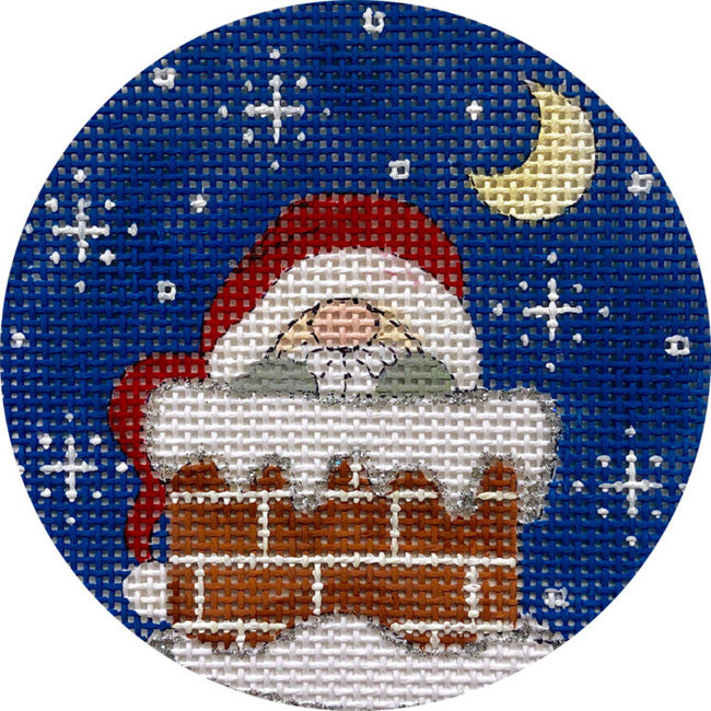Santa in Chimney needlepoint ornament