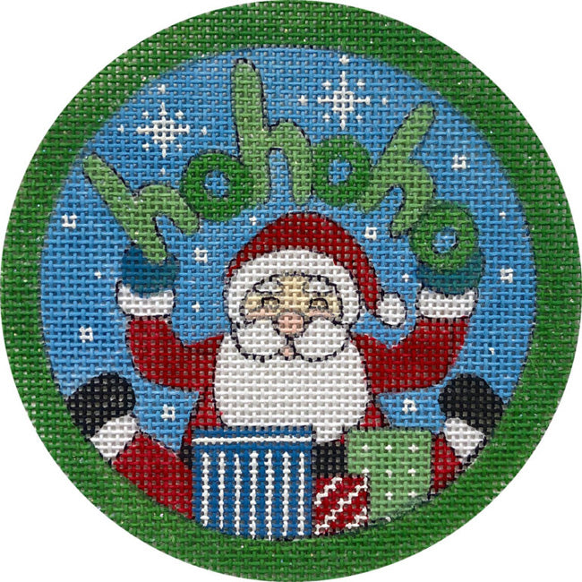 HoHoHo Santa & Gifts needlepoint ornament