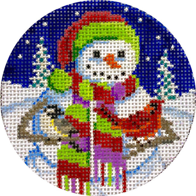 Snowman in Scarf needlepoint ornament